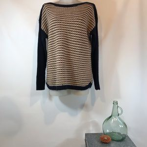 TALBOTS Navy Camel Pullover Sweater